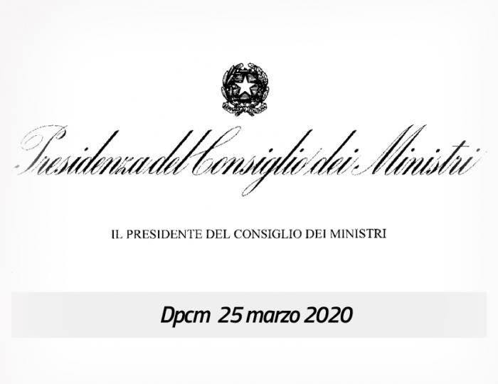 Coronavirus, firmato il Dpcm 25 marzo 2020
