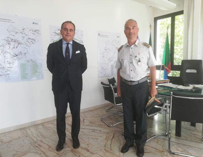 Provincia di Savona: incontro del Presidente Pierangelo Olivieri con il nuovo Comandante della Guardia di Finanza di Savona Colonnello Salvatore Salvo